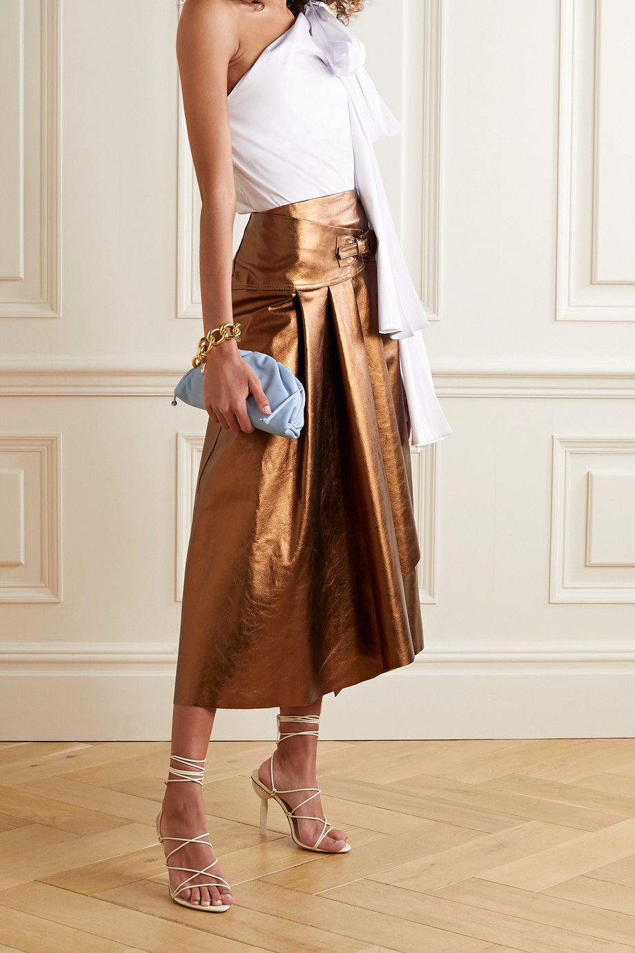 Johanna Ortiz Noches De Luna belted metallic leather skirt