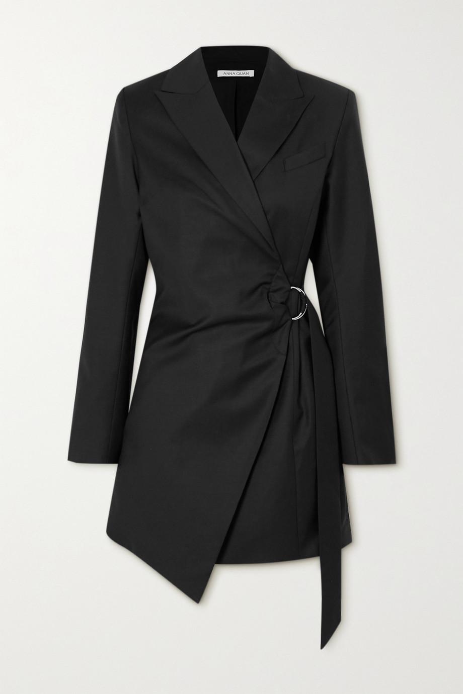 ANNA QUAN Valentina draped wool wrap mini dress
