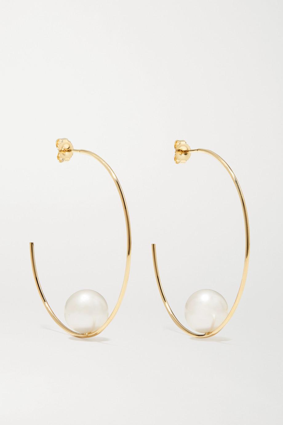 Mizuki Creolen aus 14 Karat Gold mit Perlen