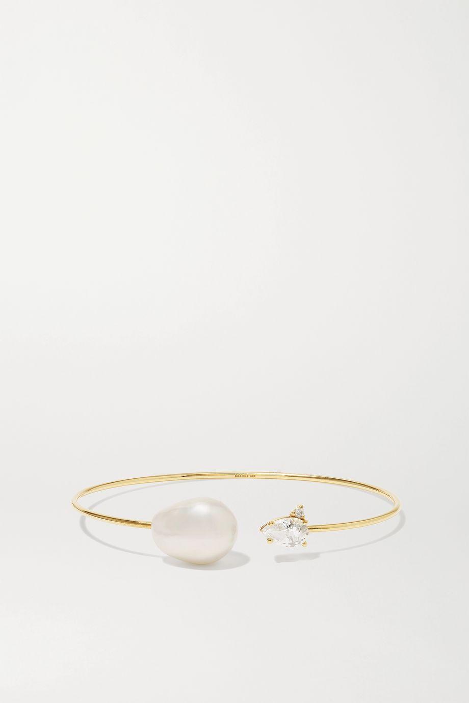 Mizuki Armspange aus 14Karat Gold mit mehreren Steinen