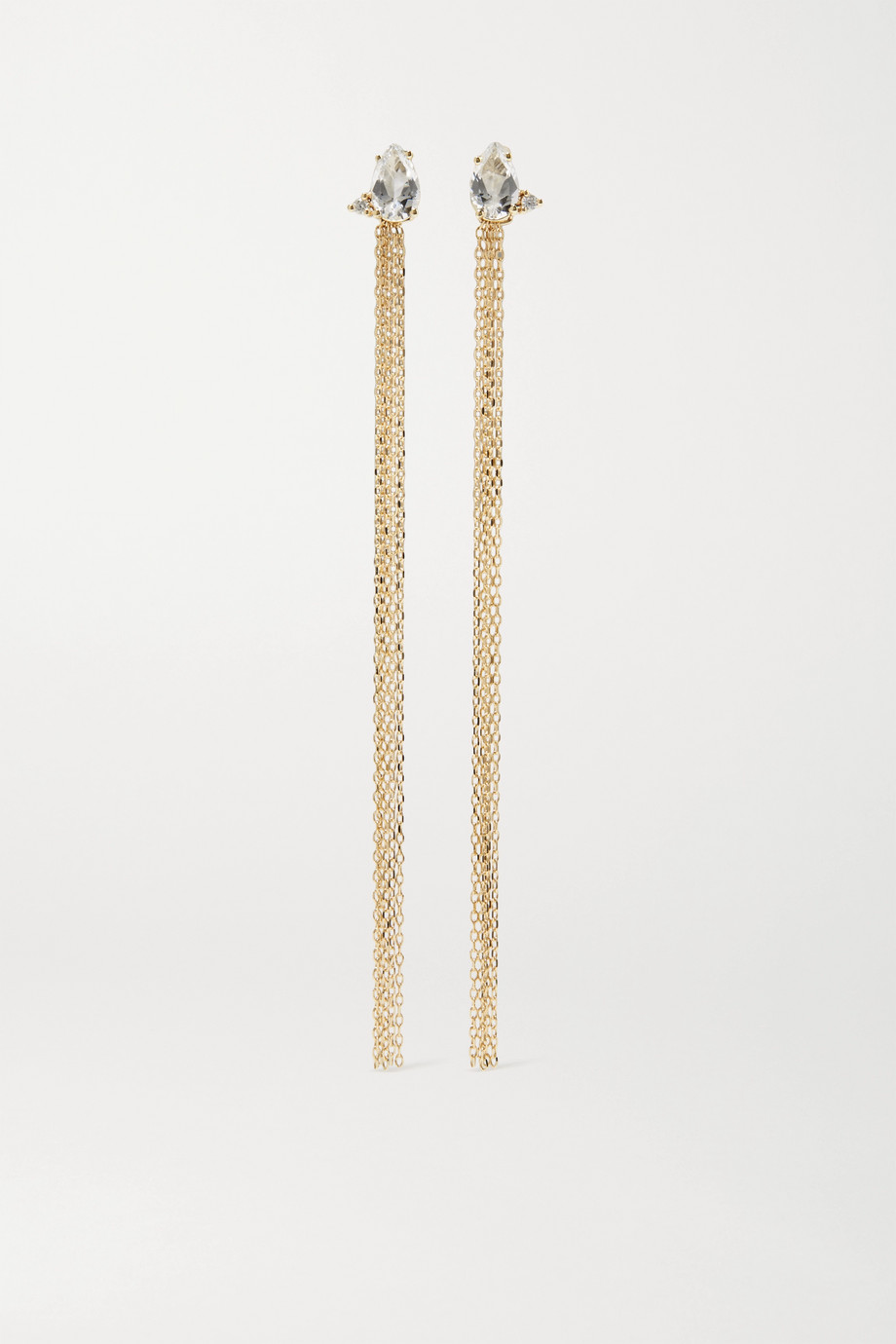Mizuki 14-karat gold, topaz and diamond earrings