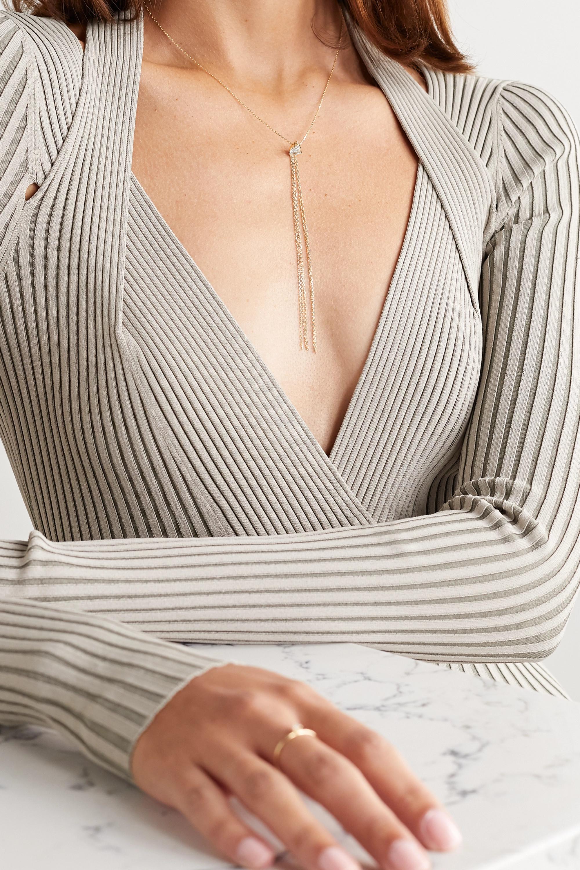 Mizuki 14-karat gold, diamond and topaz necklace