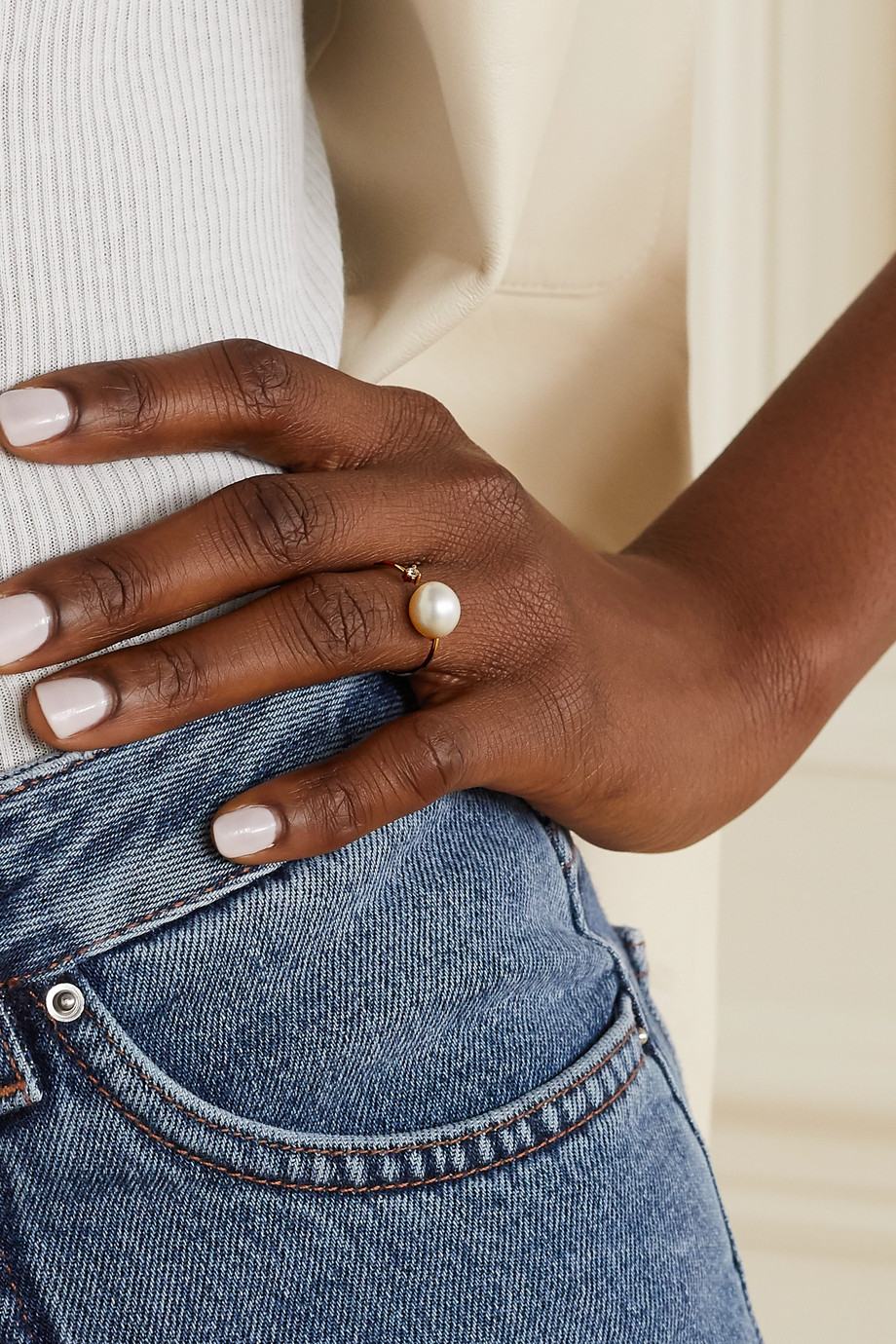 Mizuki Bague en or 14 carats, perle et diamant