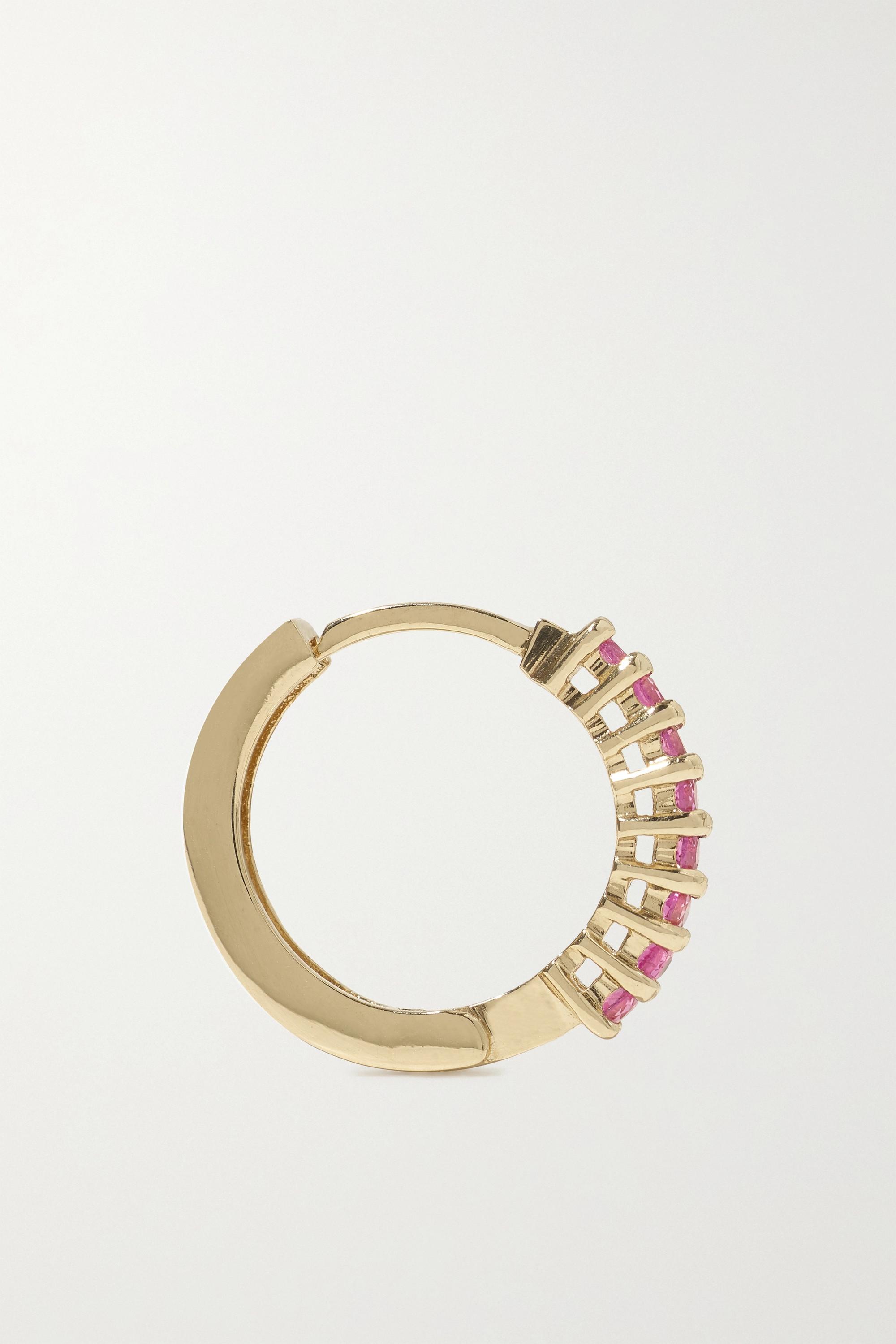 Mateo 14-karat gold sapphire hoop earrings