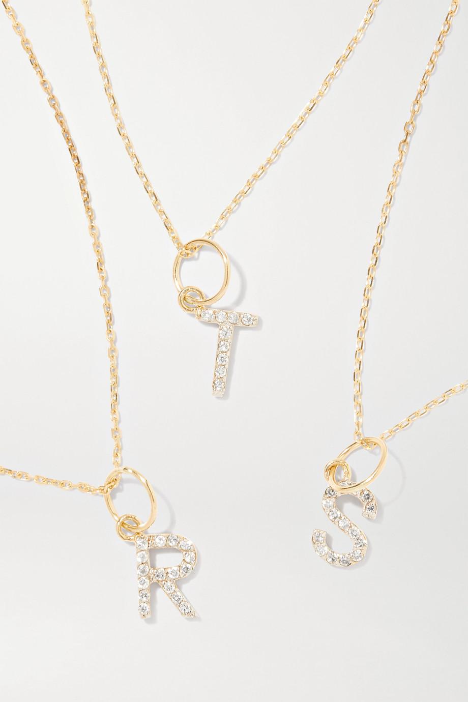 Mateo Initial 14-karat gold diamond necklace