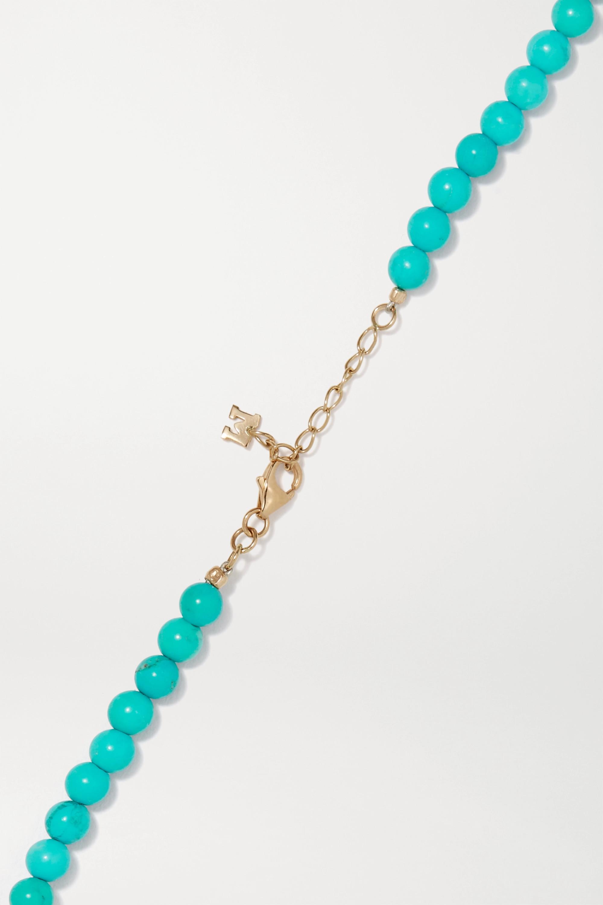 Mateo 14-karat gold, turquoise and pearl choker