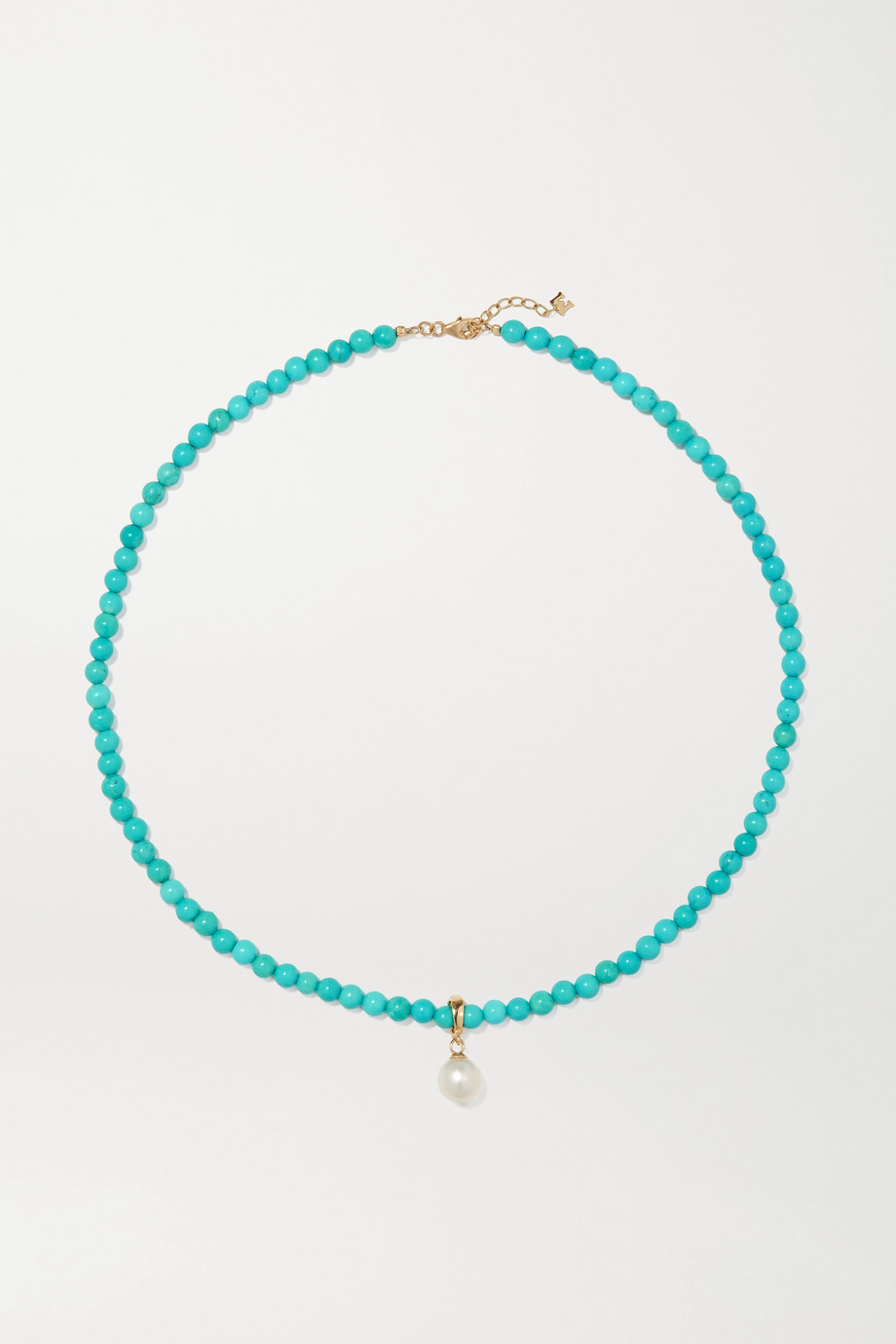Mateo 14-karat gold, turquoise and pearl choker