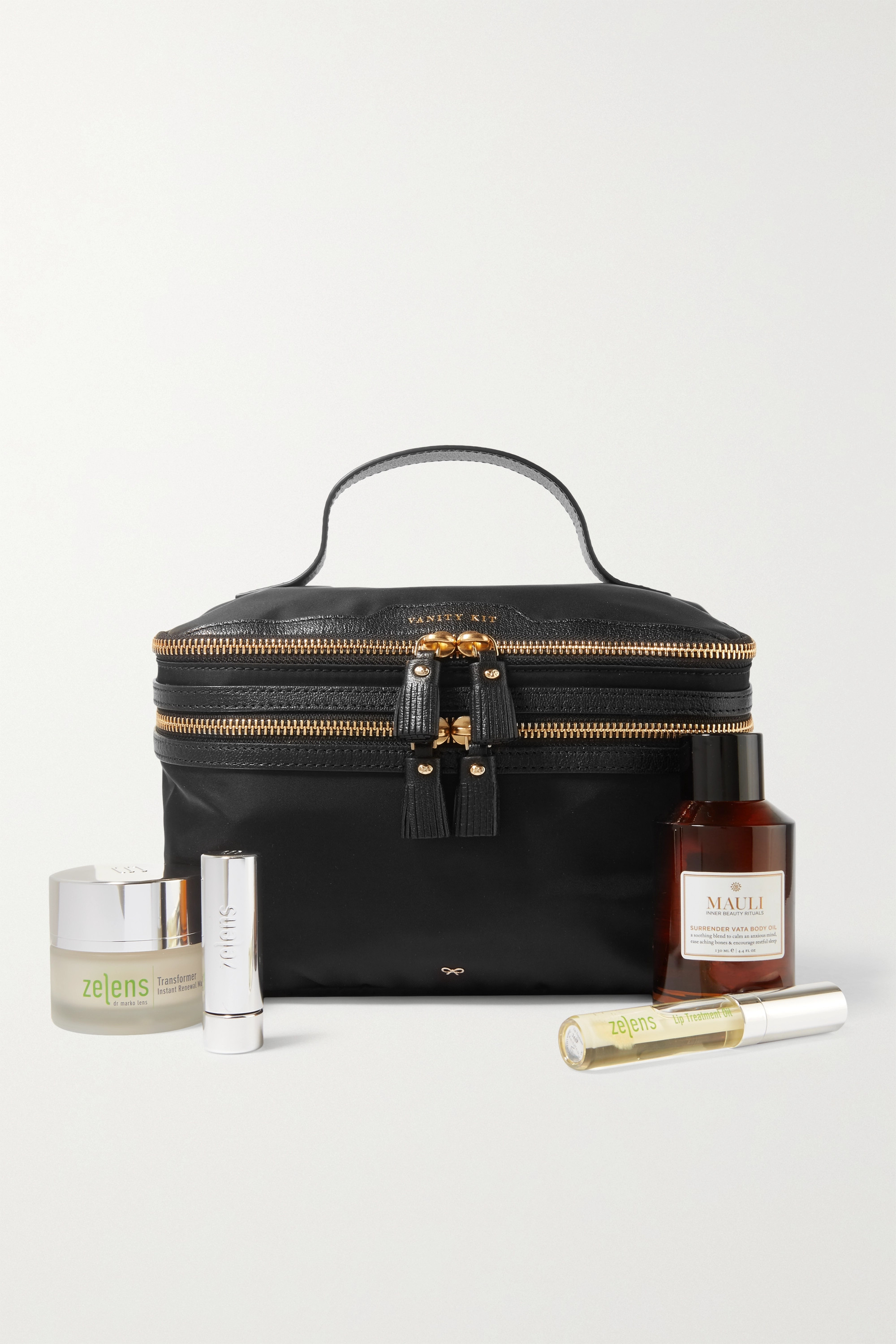 Anya Hindmarch + NET SUSTAIN Vanity Kit textured leather-trimmed recycled shell cosmetics case