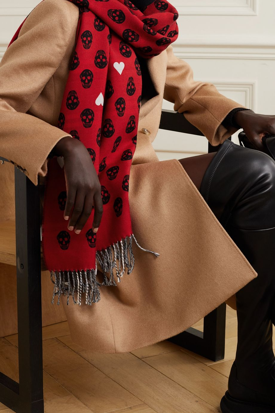 Alexander McQueen Reversible fringed wool-jacquard scarf