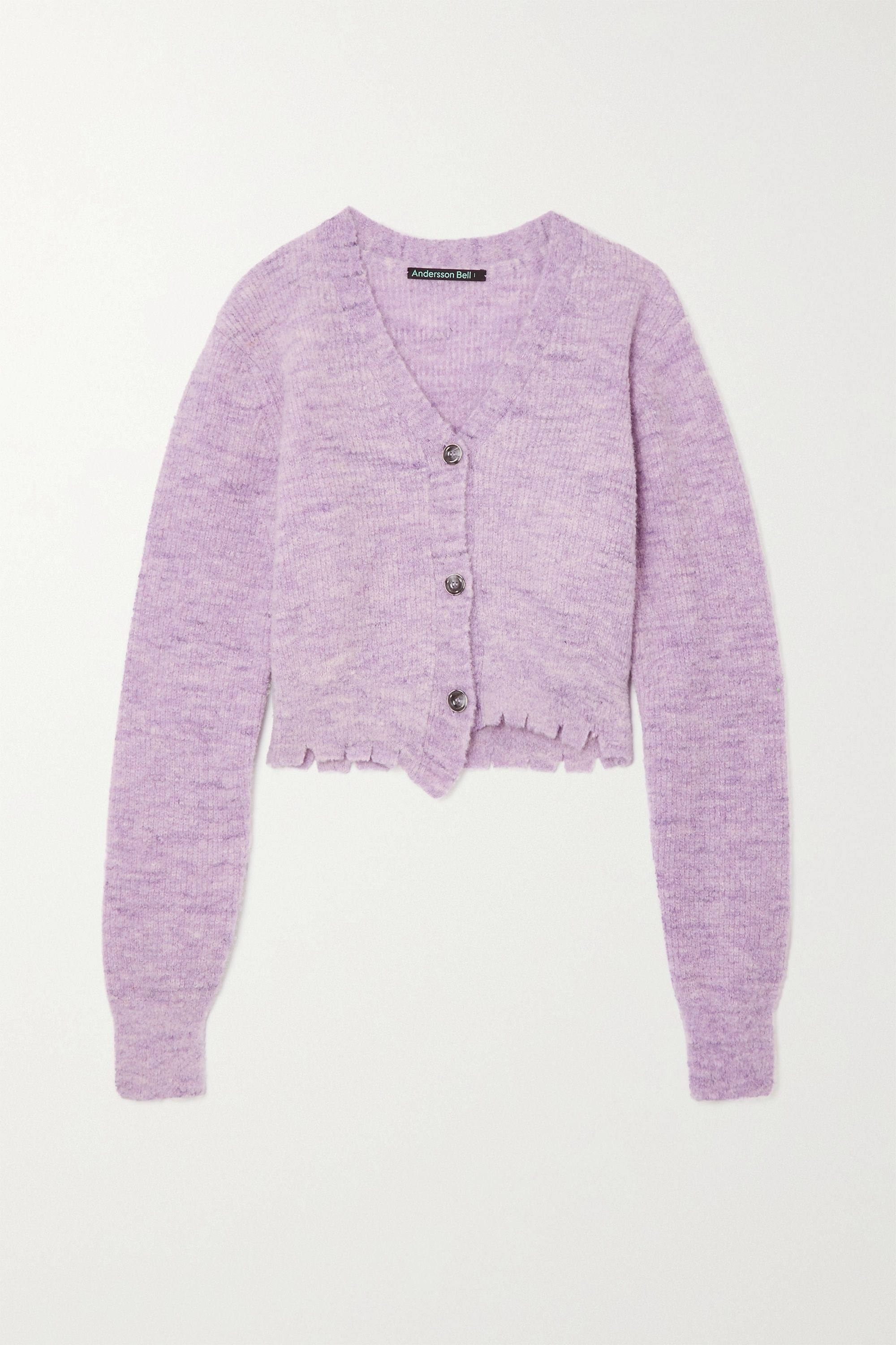 Andersson Bell Lua distressed mélange knitted cardigan