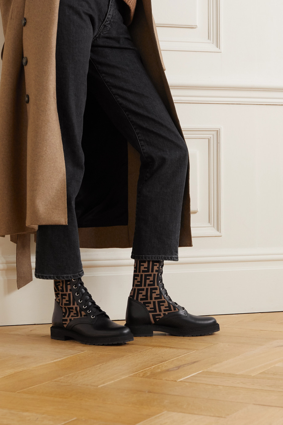 Fendi Rockoko logo-jacquard stretch-knit and leather ankle boots