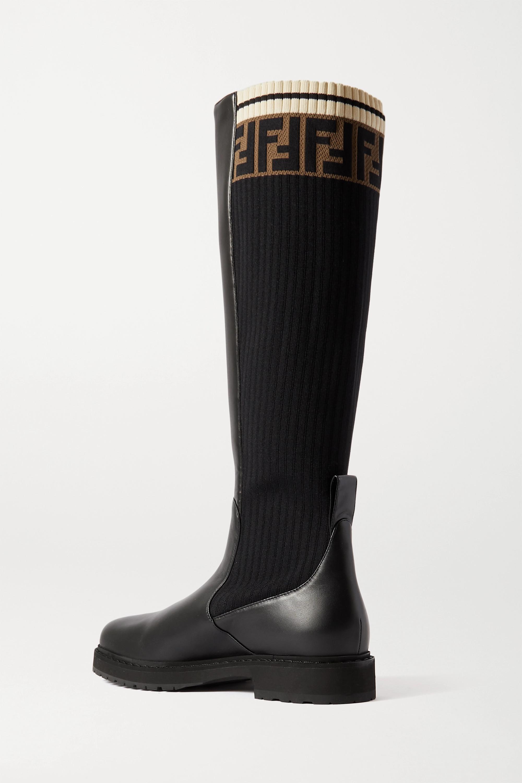 Fendi Bottes en cuir et en mailles stretch jacquard à logo