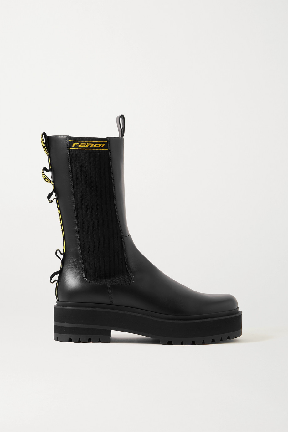 Fendi Logo jacquard-trimmed leather Chelsea boots