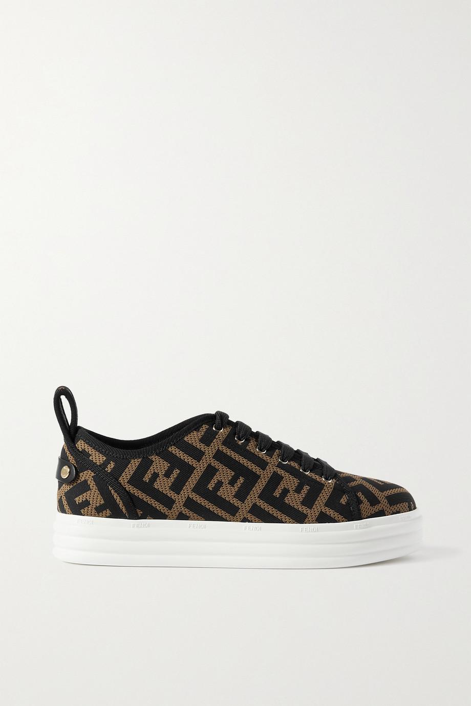 Fendi Logo-jacquard mesh platform sneakers