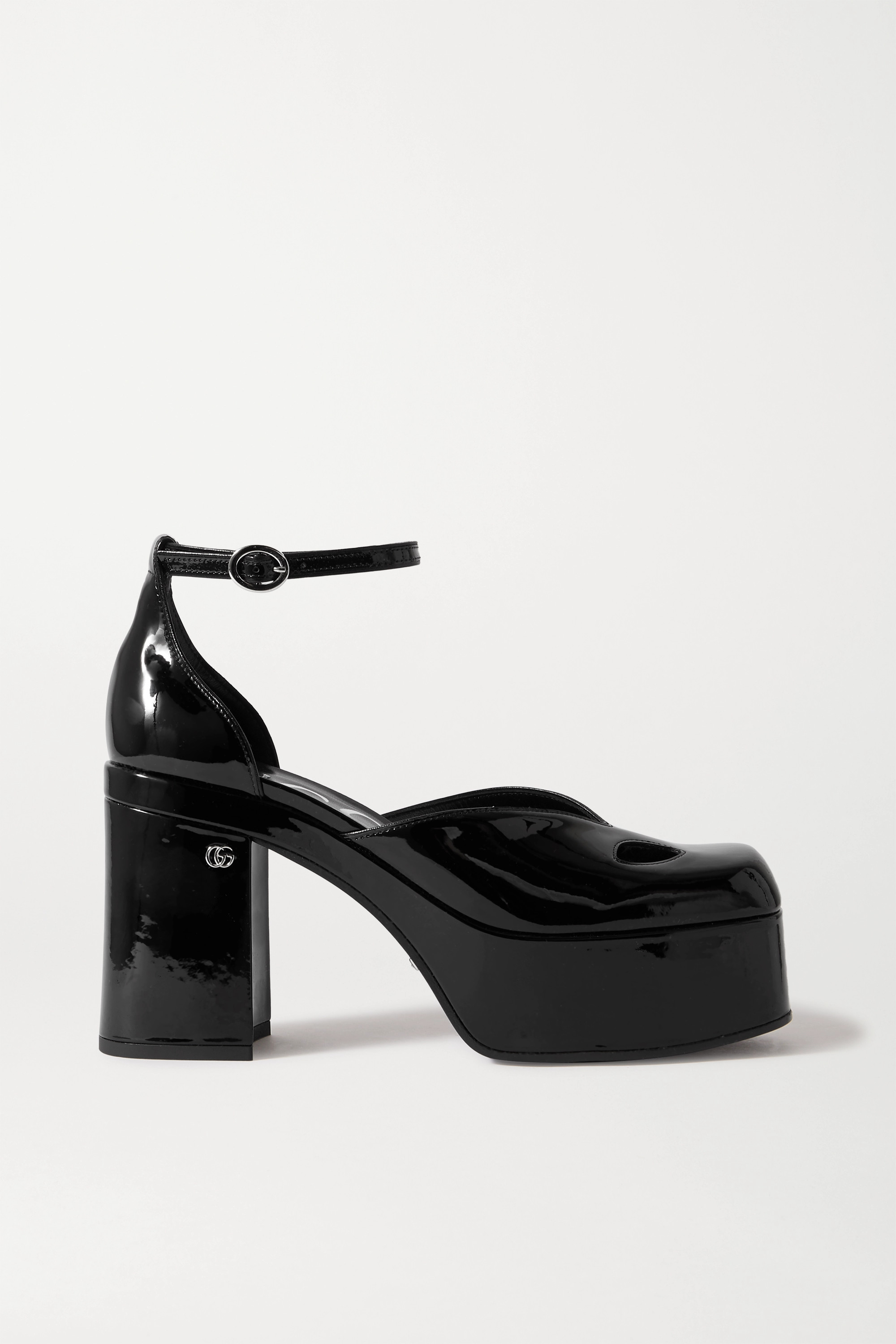Black Marvin cutout patent-leather