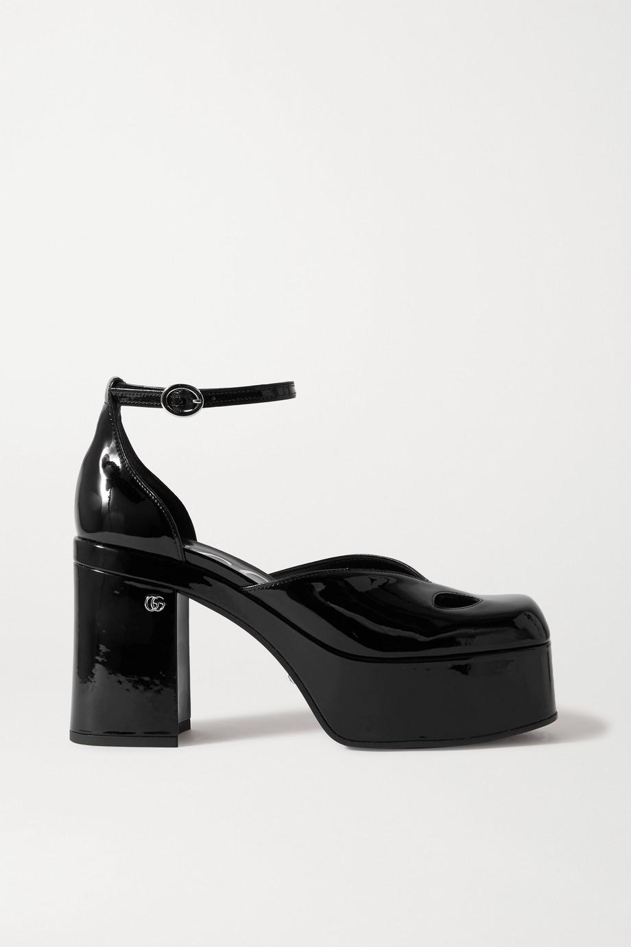 Gucci Marvin cutout patent-leather platform pumps