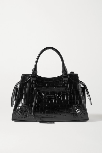 Balenciaga Neo Classic City Croc Embossed Leather Top Handle Bag In Black