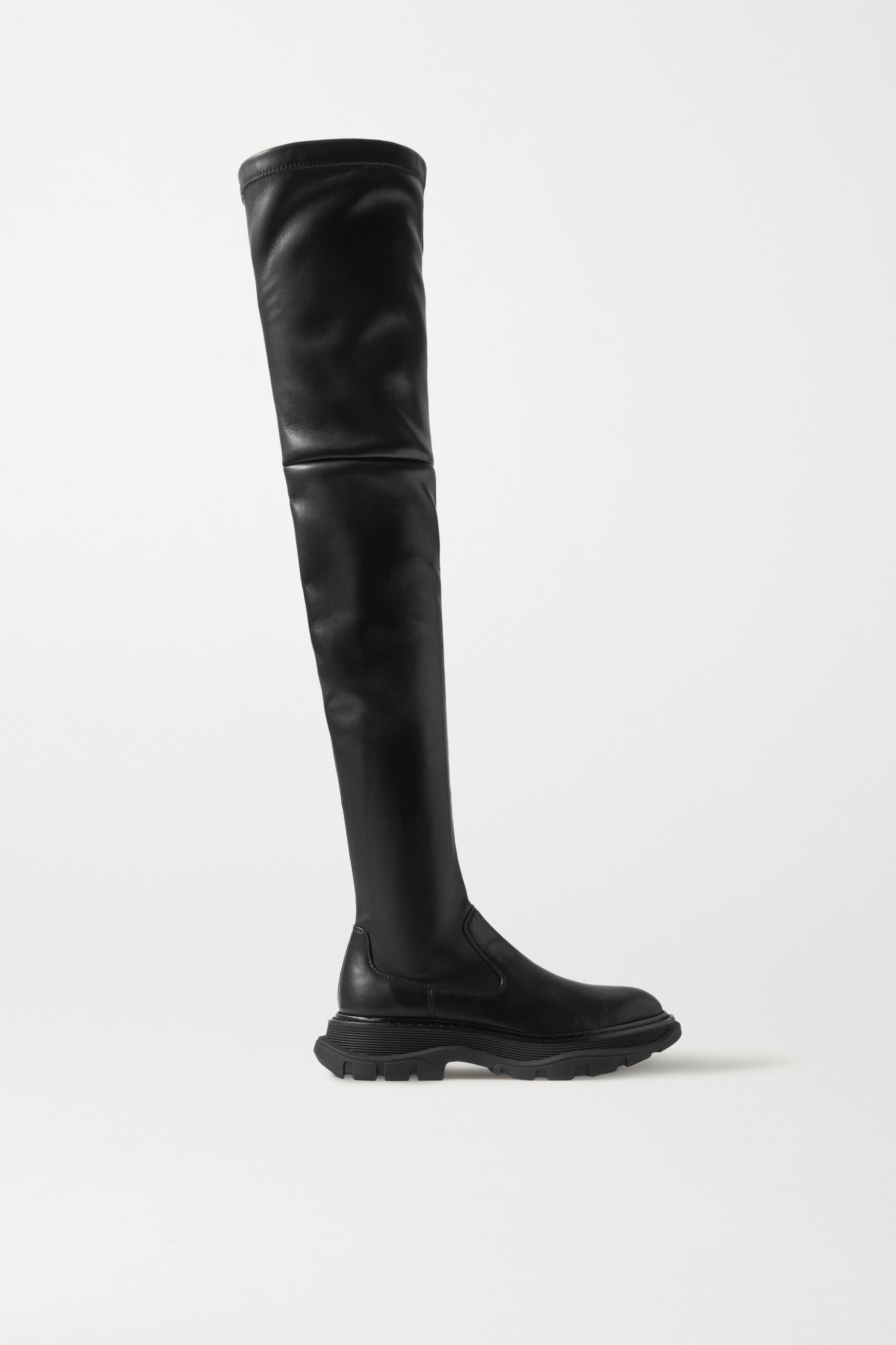 Alexander McQueen Leather exaggerated-sole over-the-knee boots