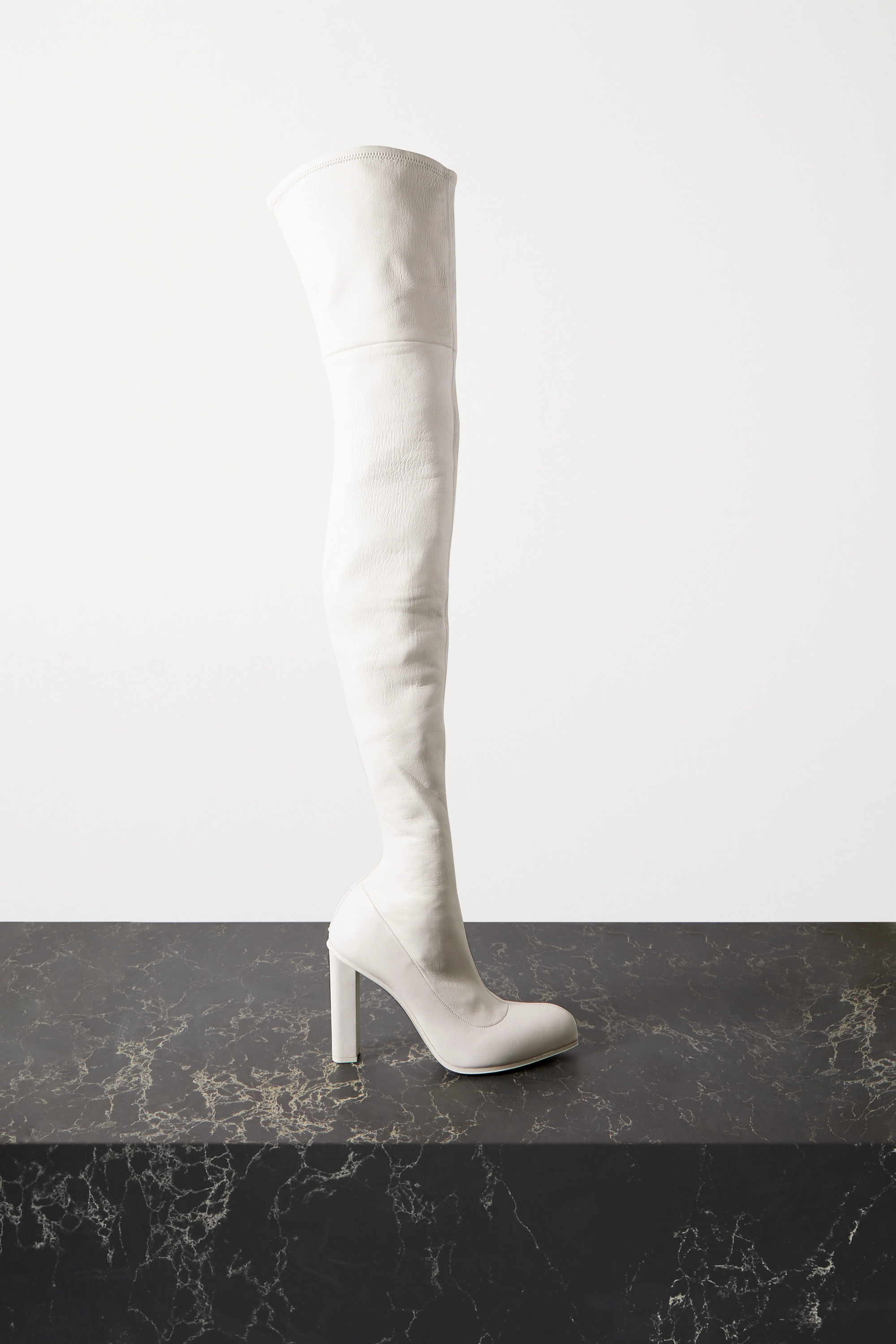 White Leather over-the-knee boots