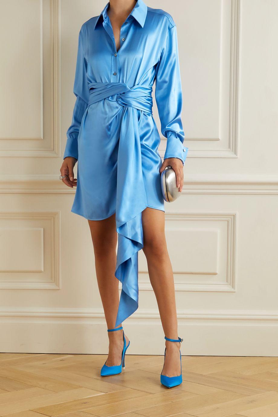 Redemption Mini-robe nouée sur le devant en satin de soie mélangée