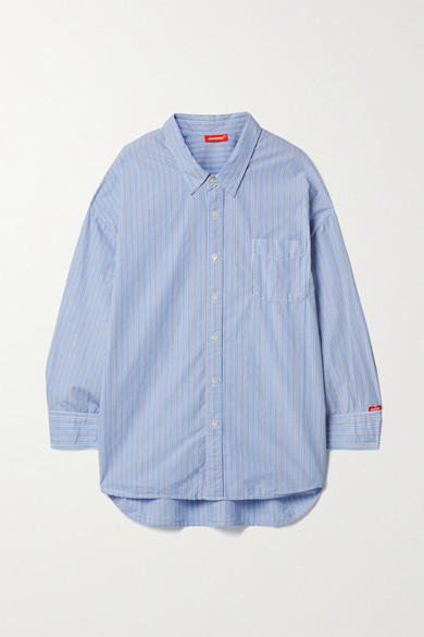 Denimist - Striped Cotton-poplin Shirt - Light blue