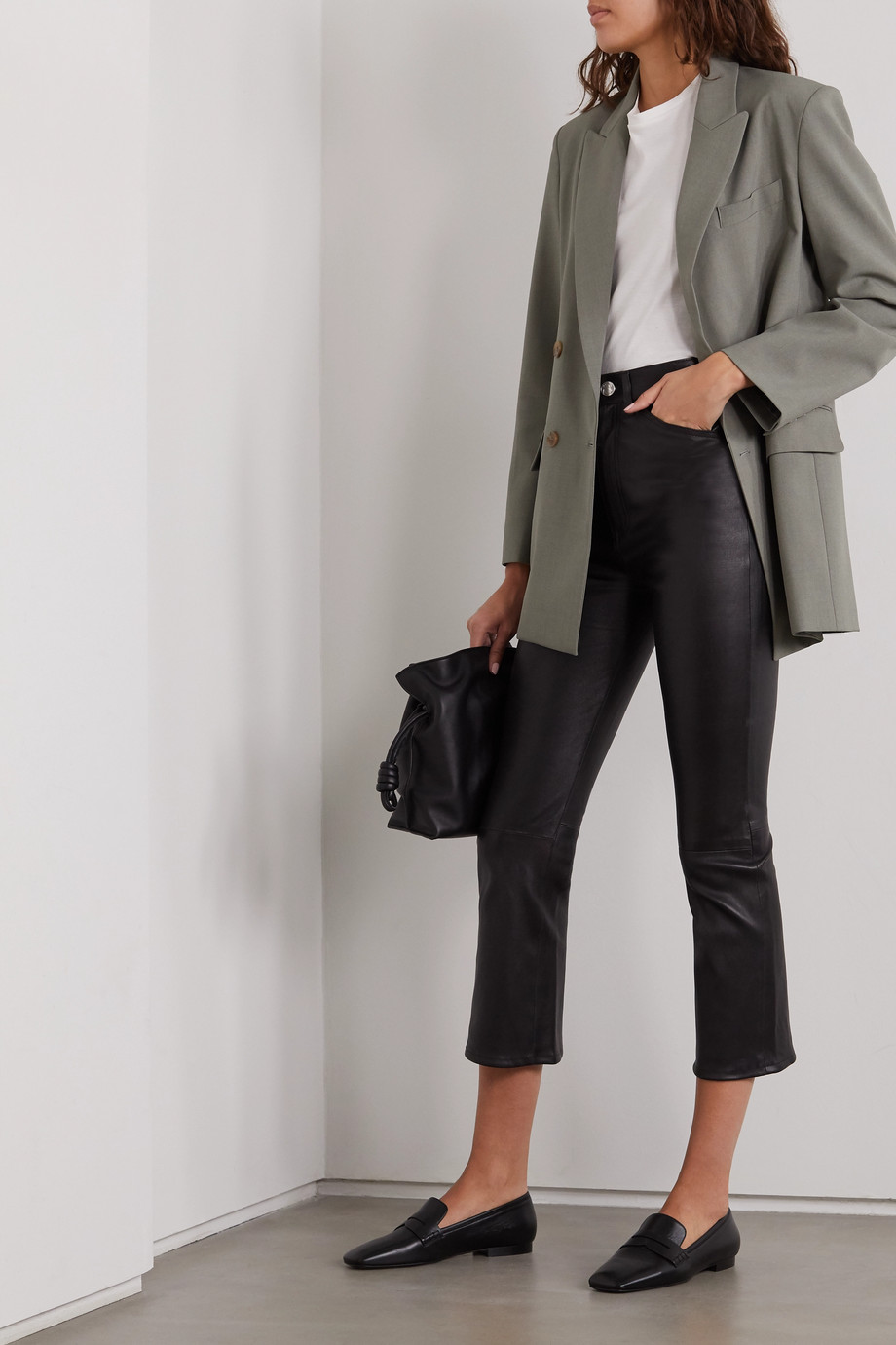 SPRWMN Cropped leather flared pants