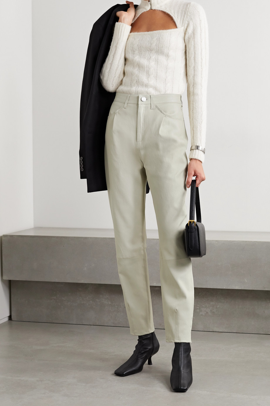 SPRWMN Leather tapered pants