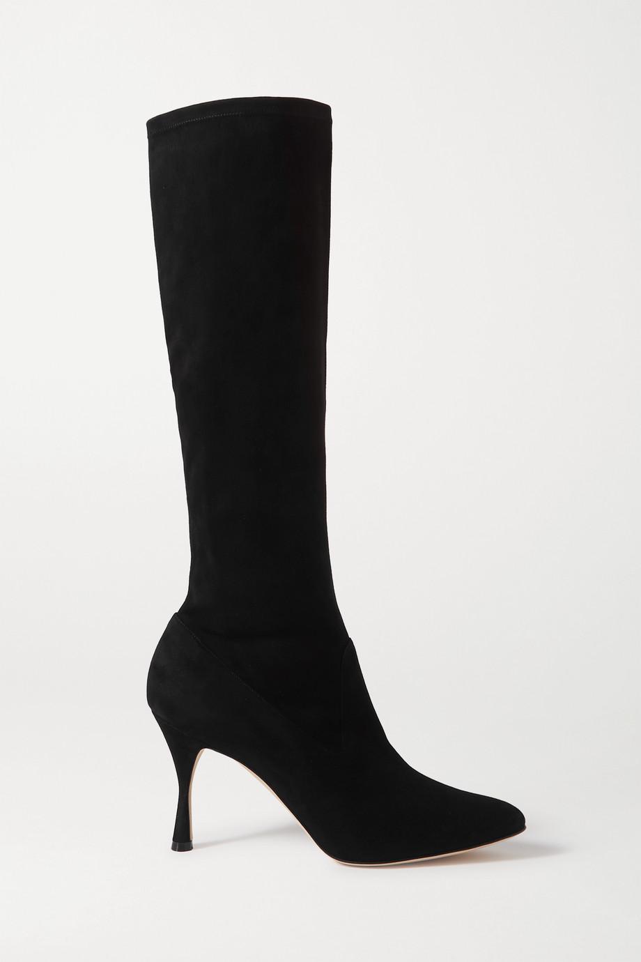 Manolo Blahnik Pamfilo kniehohe Stiefel aus elastischem Veloursleder