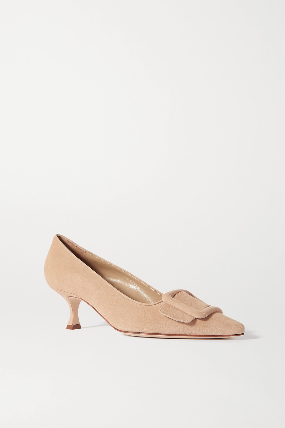 Manolo Blahnik Maysale buckled suede pumps