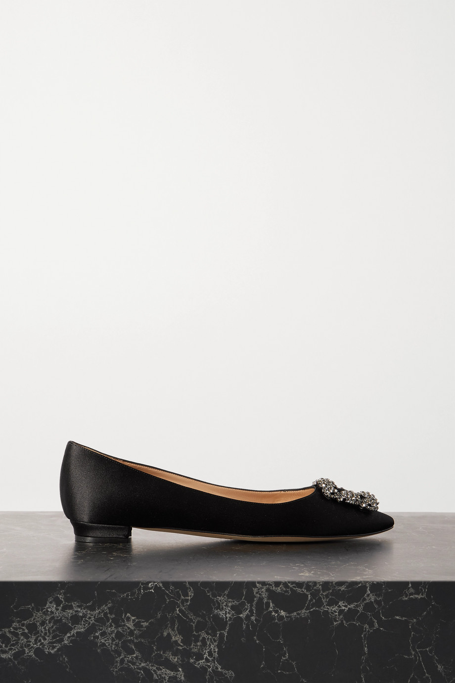 Manolo Blahnik Hangisi embellished satin point-toe flats