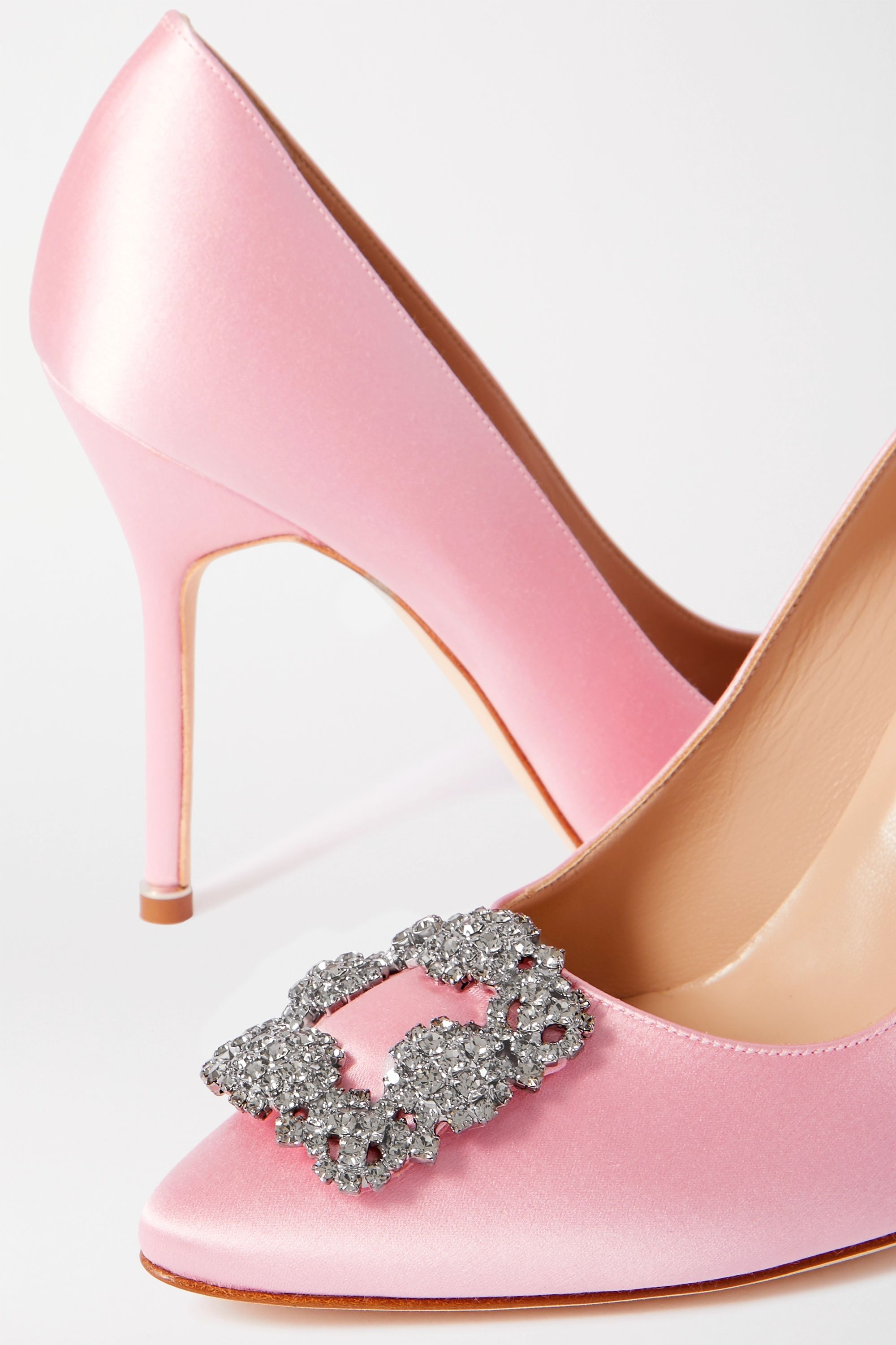 Manolo Blahnik Hangisi embellished satin pumps