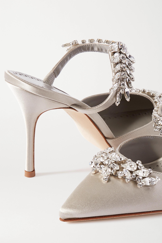 Manolo Blahnik Lurum crystal-embellished satin mules