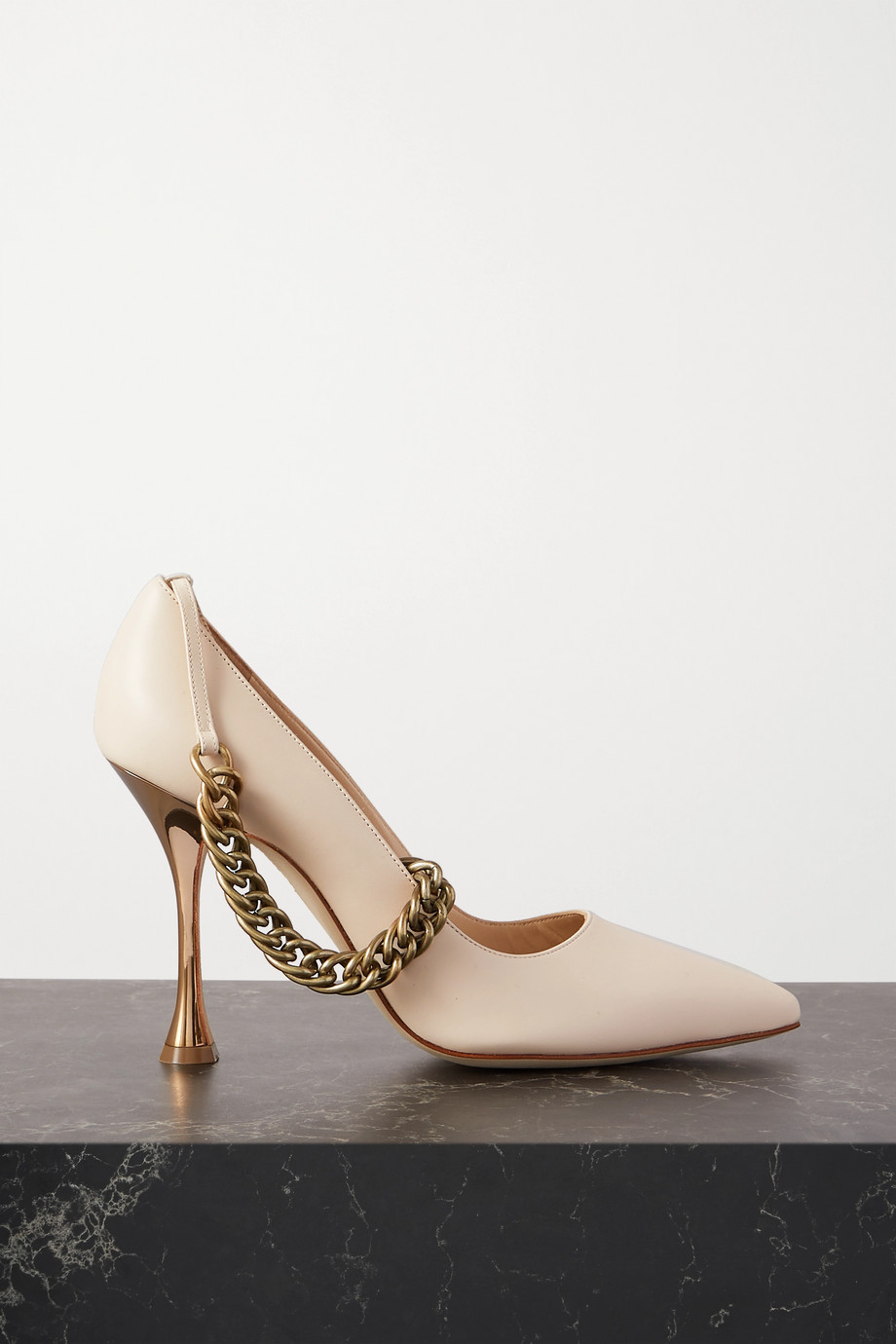 Manolo Blahnik Kurillos chain-embellished leather pumps
