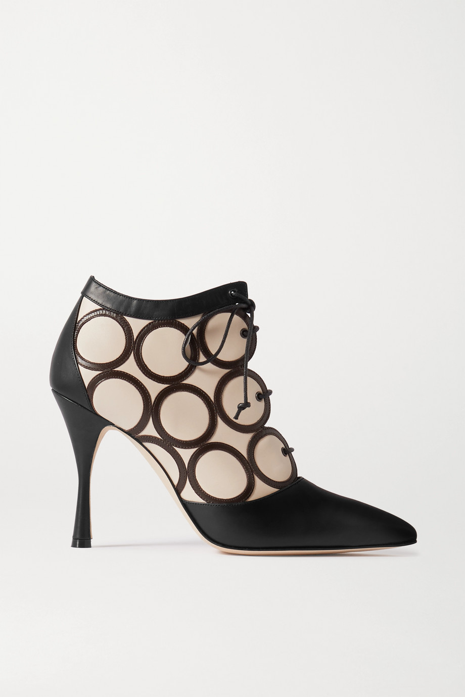 Manolo Blahnik Fanku lace-up appliquéd leather ankle boots
