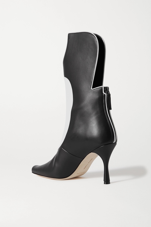 Manolo Blahnik Sambona zweifarbige Stiefel aus Leder