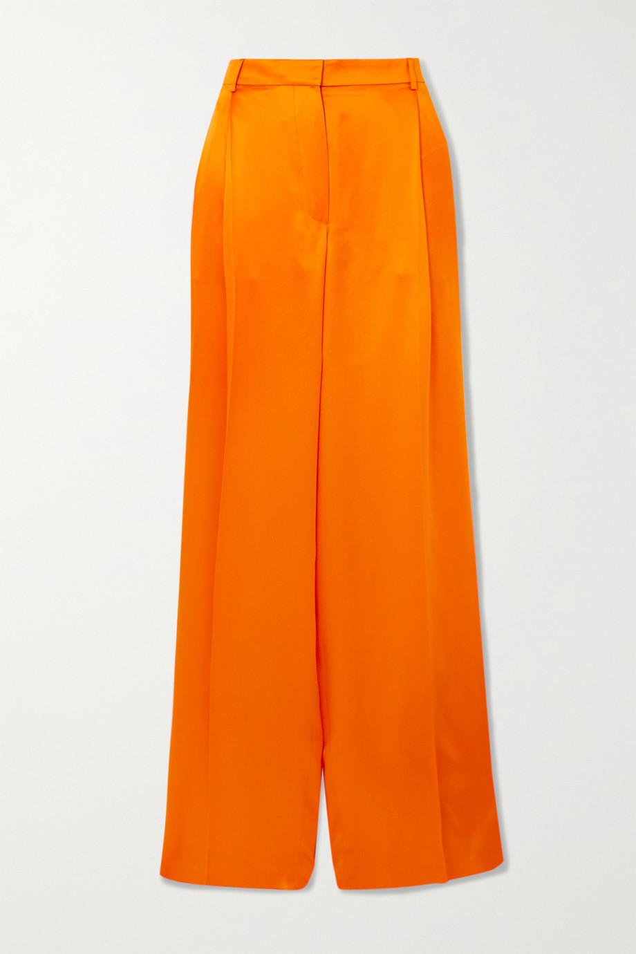 Nina Ricci Pleated silk-satin wide-leg pants