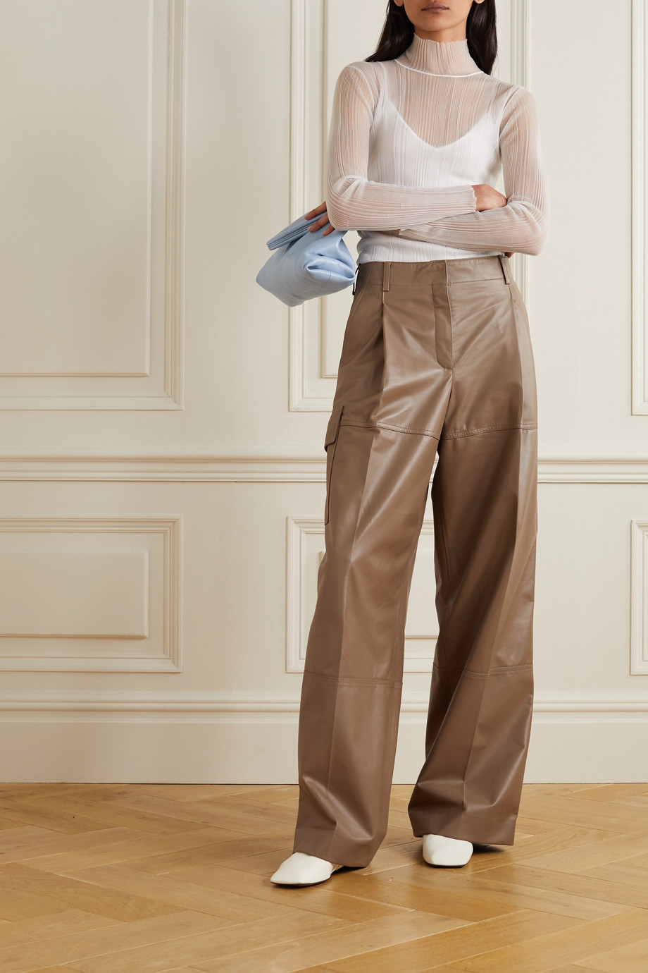 Nina Ricci Leather straight-leg pants