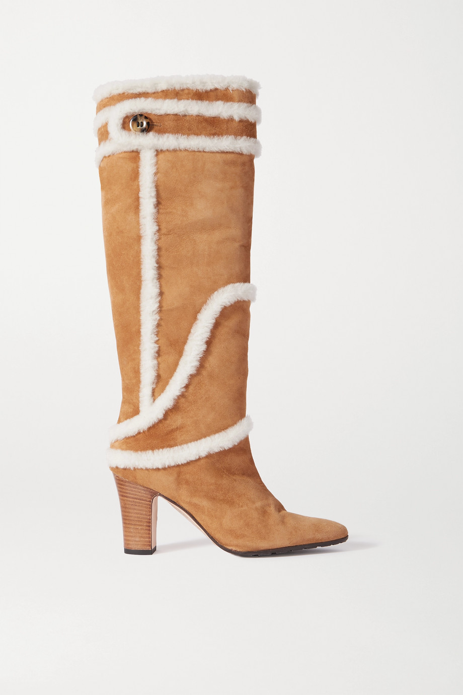 Manolo Blahnik Cluntius shearling-trimmed suede knee boots