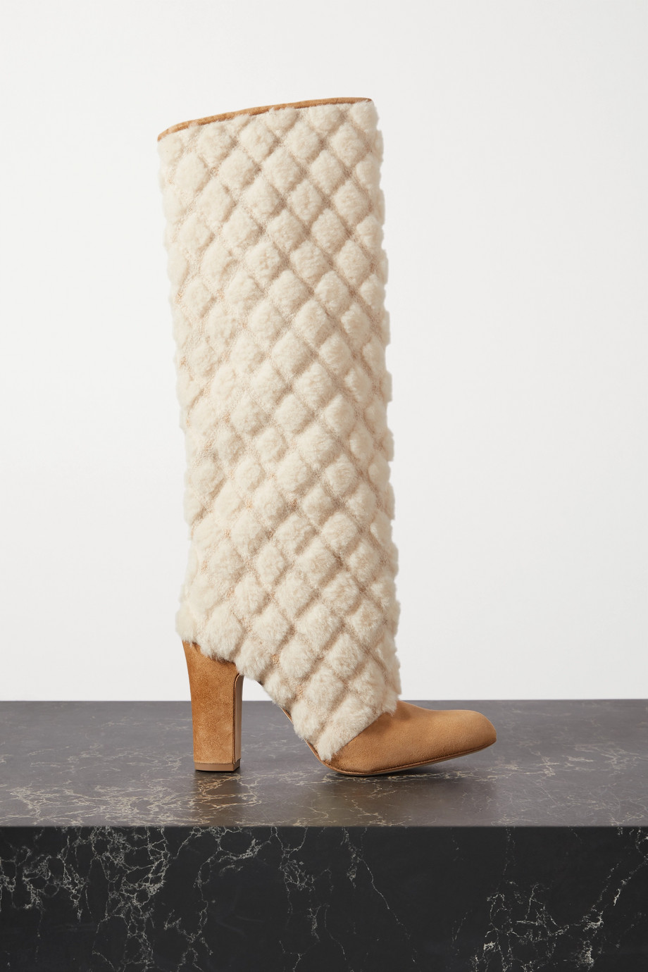 Manolo Blahnik Khomiko quilted shearling and suede knee boots