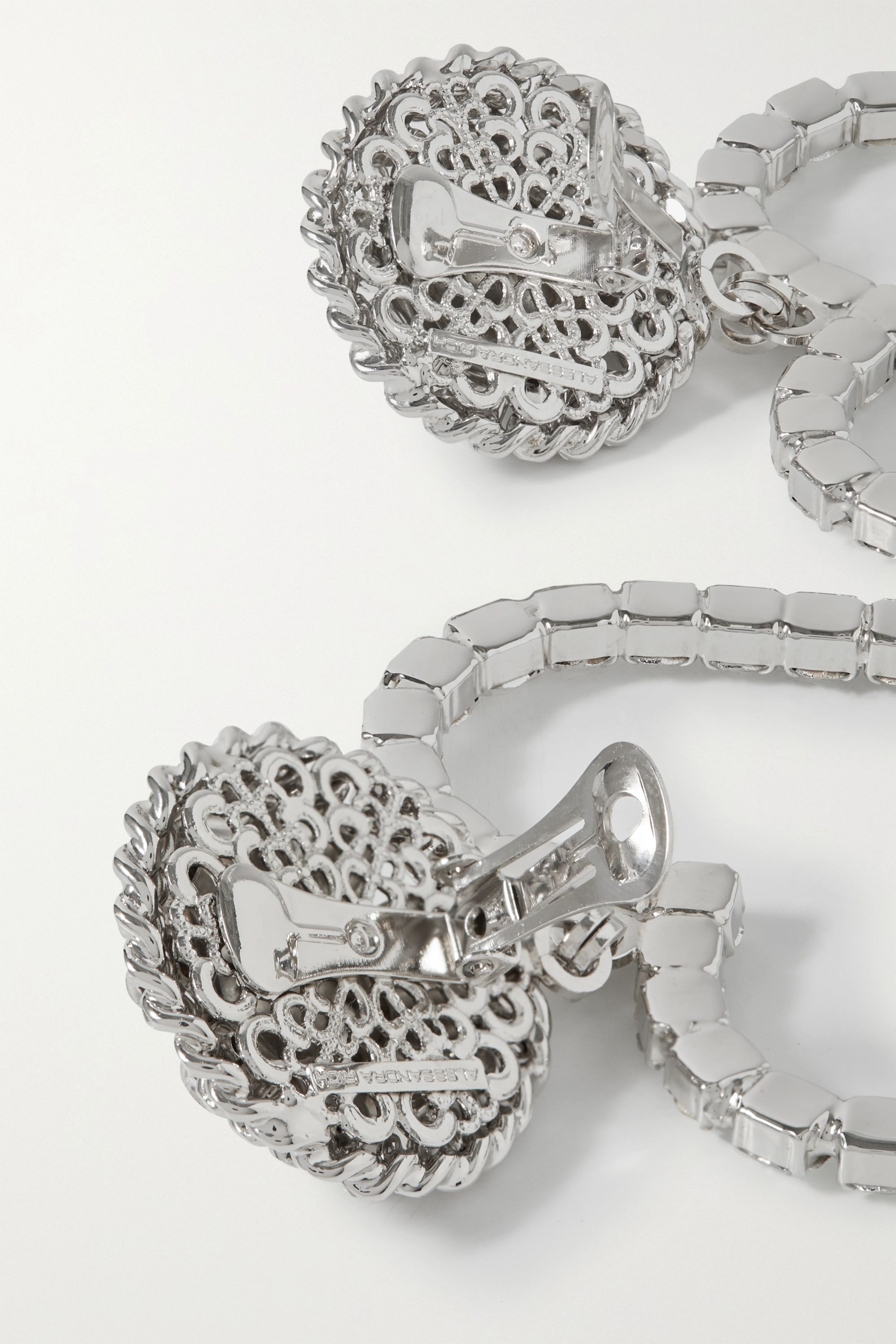 Alessandra Rich Silver-plated, faux pearl and crystal clip earrings