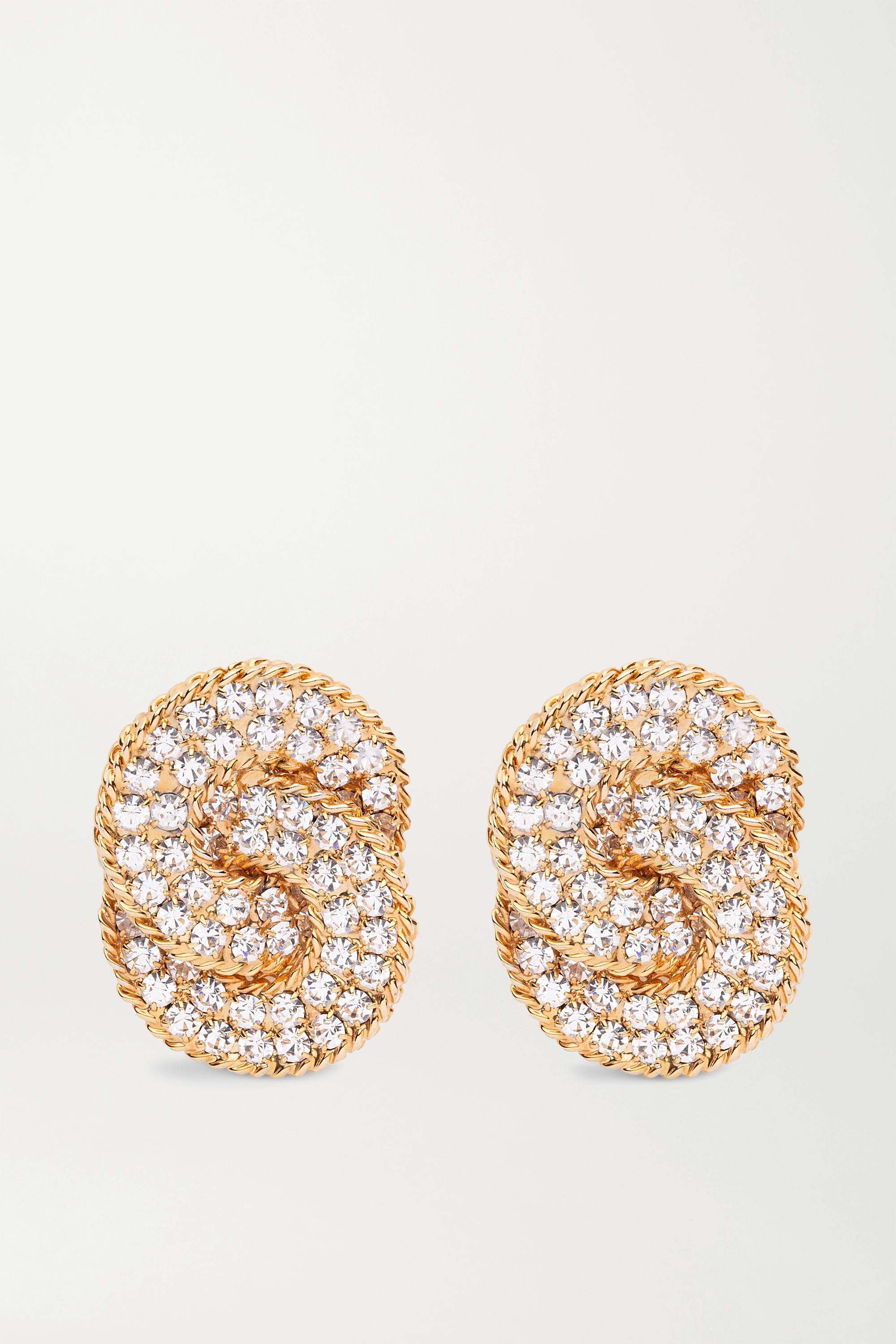 Alessandra Rich Oversized gold-plated crystal clip earrings