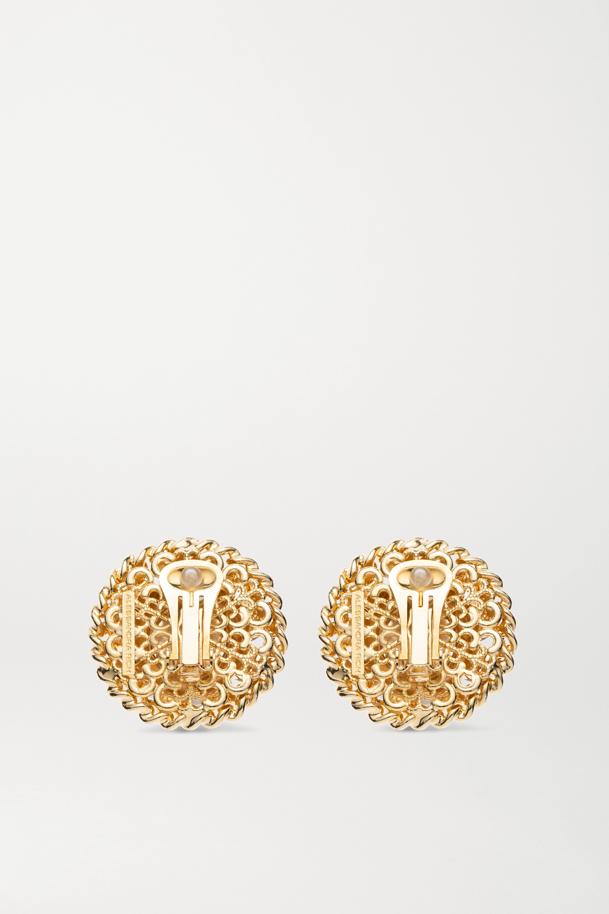 Alessandra Rich Oversized gold-plated, faux pearl and crystal clip earrings