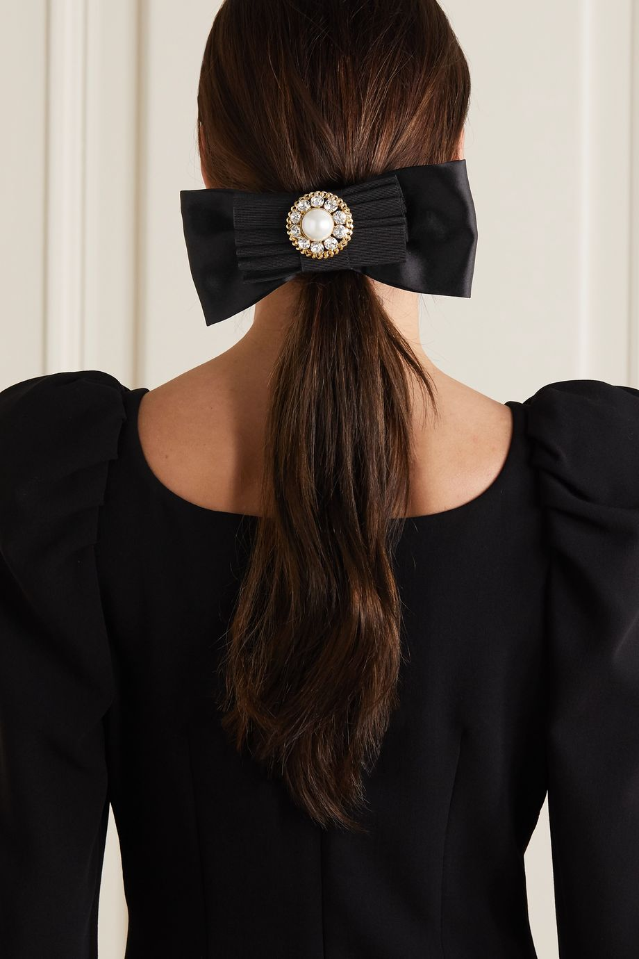 Alessandra Rich Embellished grosgrain and satin hair clip