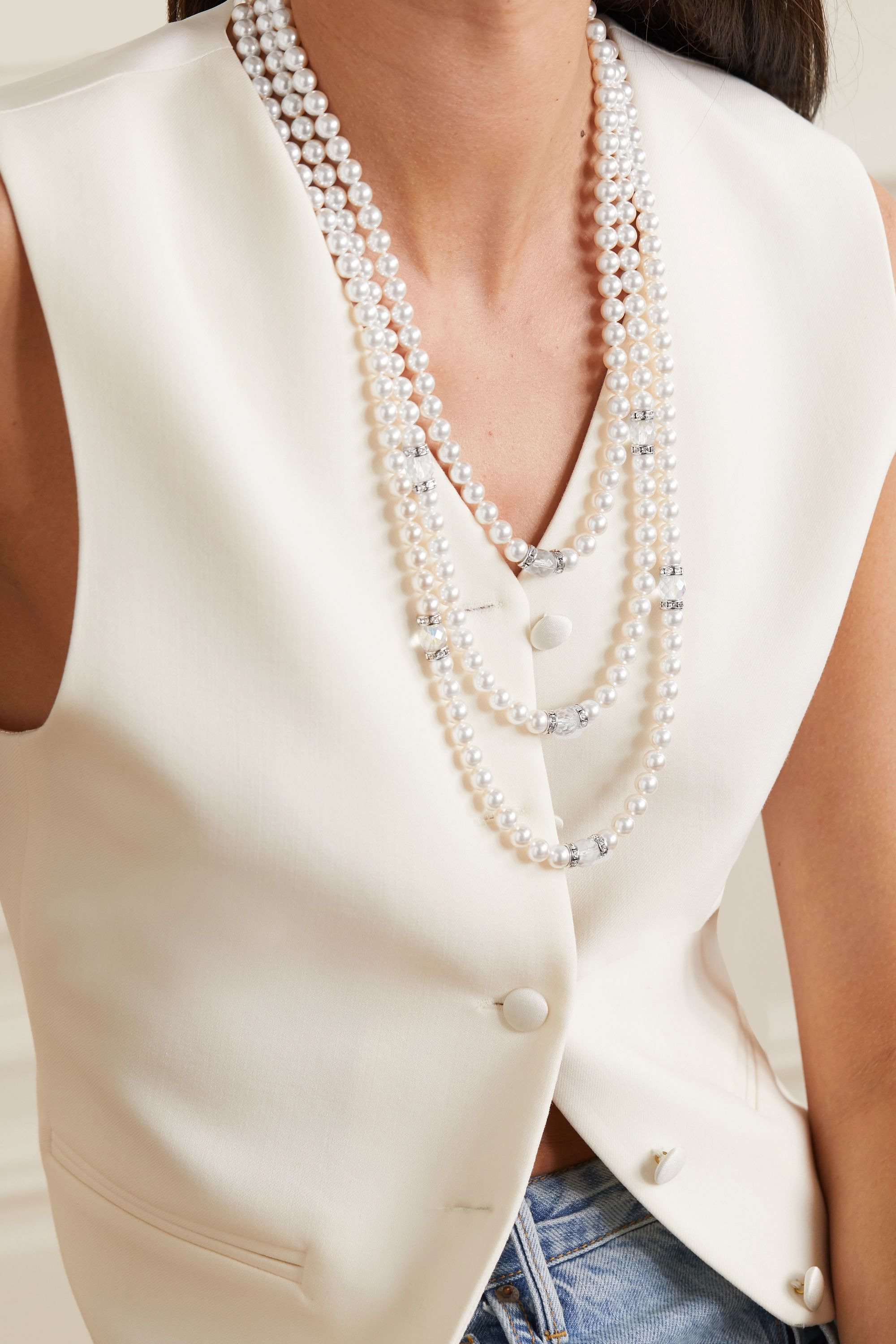 Alessandra Rich Silver-tone, faux pearl and crystal necklace