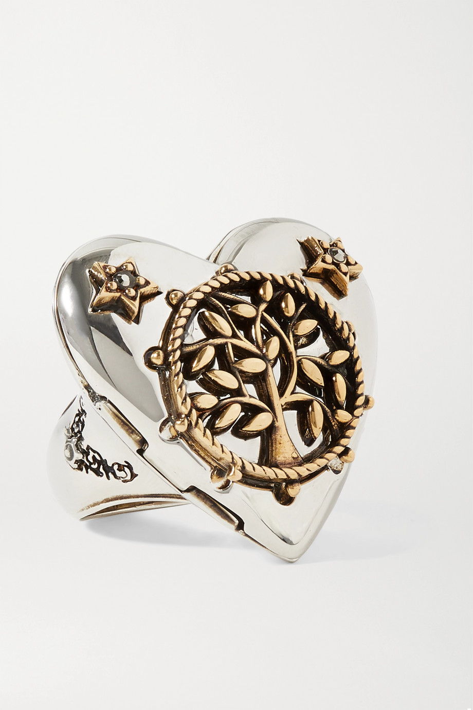 Alexander McQueen Heart silver and gold-tone crystal ring