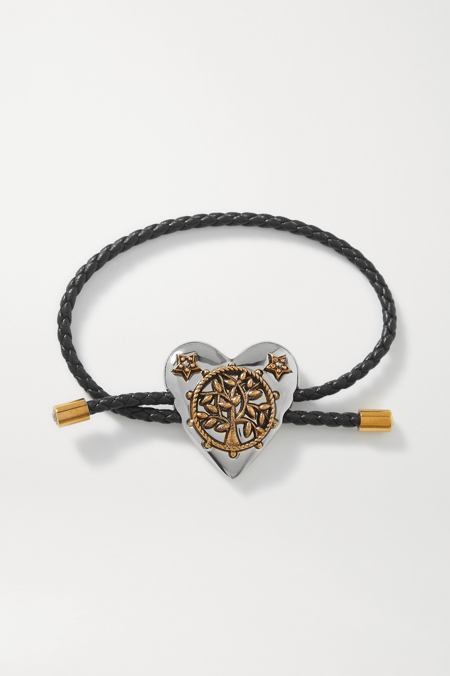 Alexander McQueen Heart woven leather, silver and gold-tone crystal bracelet