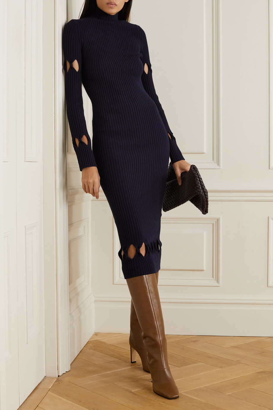 Victoria Beckham Cutout ribbed wool-blend turtleneck midi dress