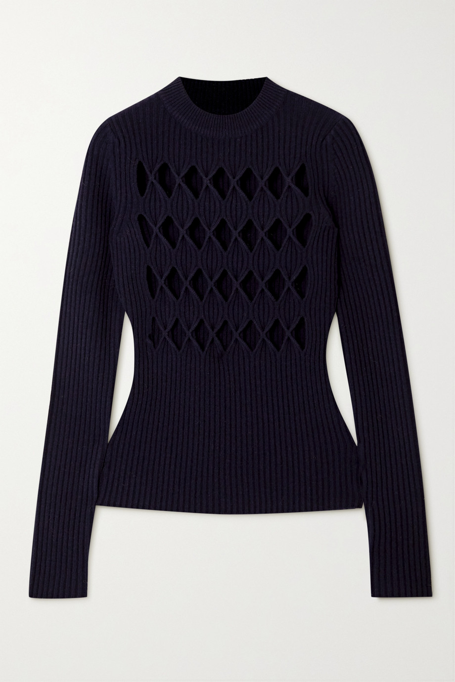 Victoria Beckham Cutout ribbed wool-blend sweater