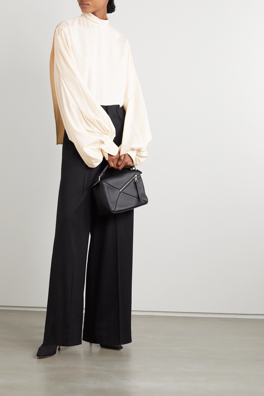 Victoria Beckham Silk-crepe turtleneck blouse