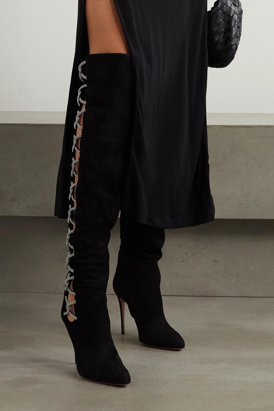 Aquazzura Belle De Nuit 105 cutout embellished suede over-the-knee boots